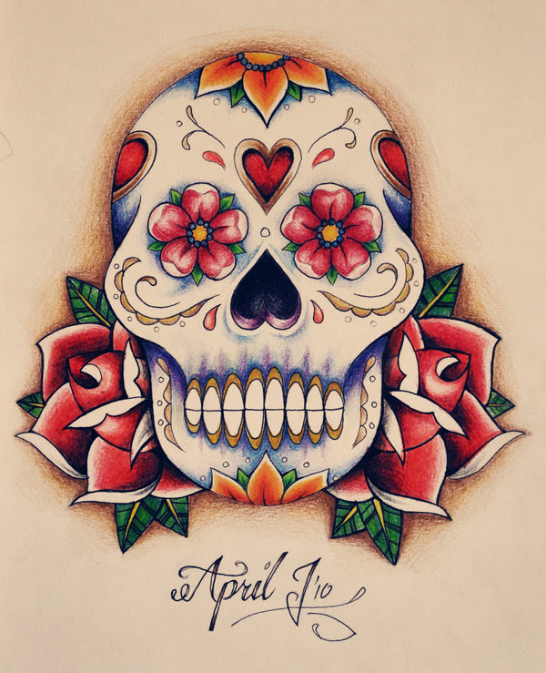 Mexican Skull Tattoo Designs Skulls And Roses Flowers Tattoo