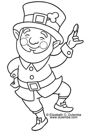Dulemba coloring page tuesday leprechaun jig for Leprechaun coloring pages