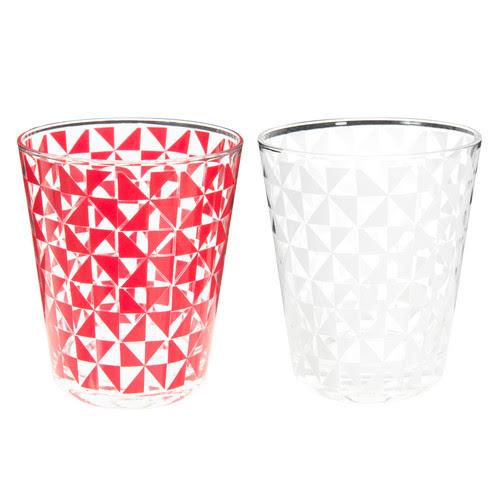 12 bicchieri bianchi/rossi in vetro SNOW