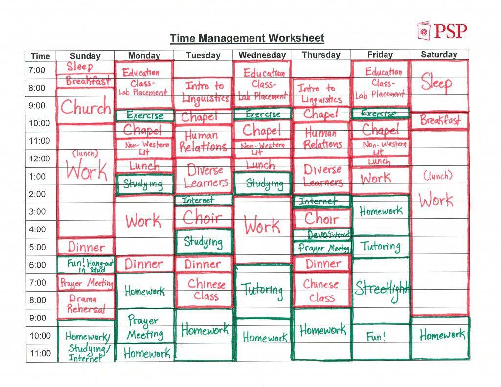 time management worksheet 1 1024x791