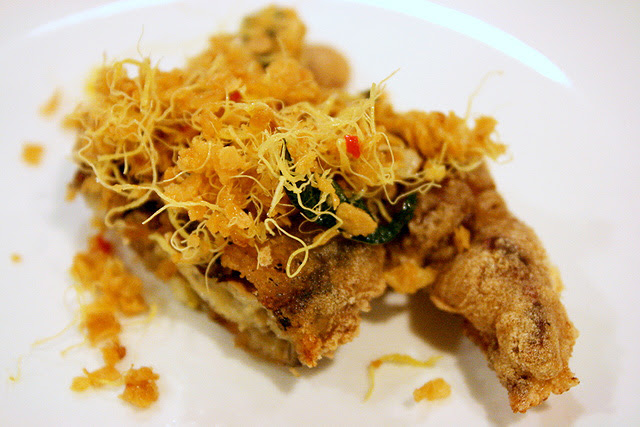 Deep fried soft shell crabs with oats