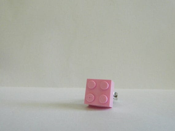Pink Square Lego Ring