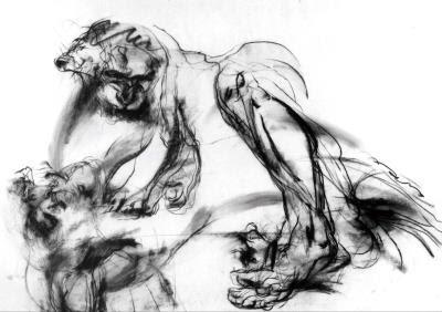 〈大男人〉,2000  炭精  紙本 79x109cm
