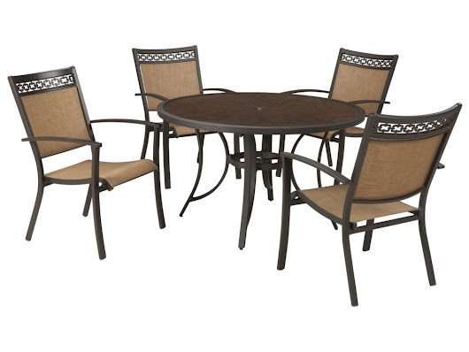 Carmadelia Outdoor Round Dining Table Set by Signature Design by Ashley at Lapeer Furniture & Mattress Center