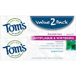 Tom's of Maine Antiplaque and Whitening Peppermint Natural Toothpaste - 2pk/5.5oz