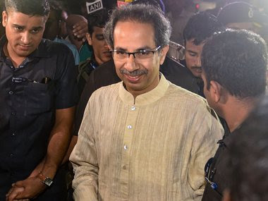 Shiv Sena chief Uddhav Thackeray leaves after a meeting with Congress and NCP leaders, at Nehru Centre in Mumbai. PTI
