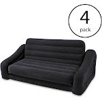 Intex Inflatable Queen Size Pull-Out Futon Sofa Couch Bed, Dark Gray (4 Pack) by VM Express