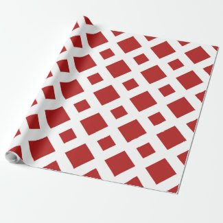 Red and White Diamond Pattern Gift Wrap Paper