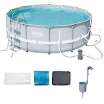 Bestway 14ft x 48in Power Steel Frame Above Ground Round Pool Set and Skimmer by VM Express