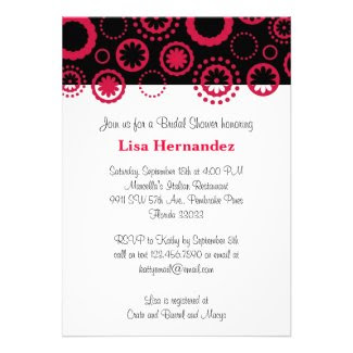 Red and Black Flowers and Circles Personalized Announcement