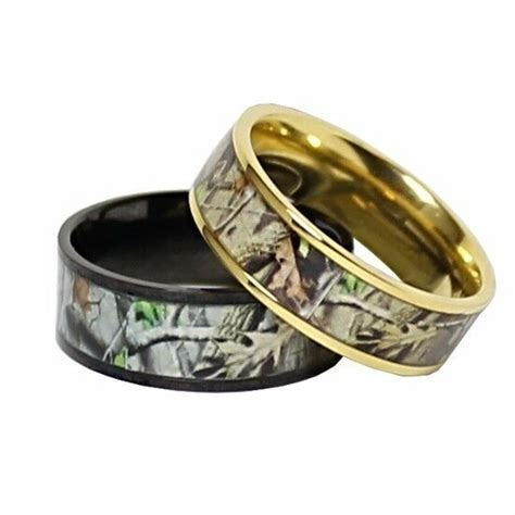 TITANIUM His & Hers REAL OAK Camo Wedding Rings Camouflage