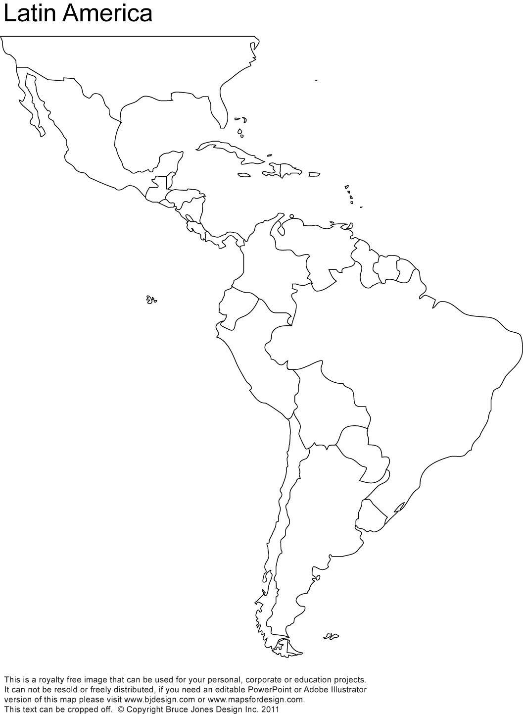 Latin America printable, blank map, south america, brazil ...