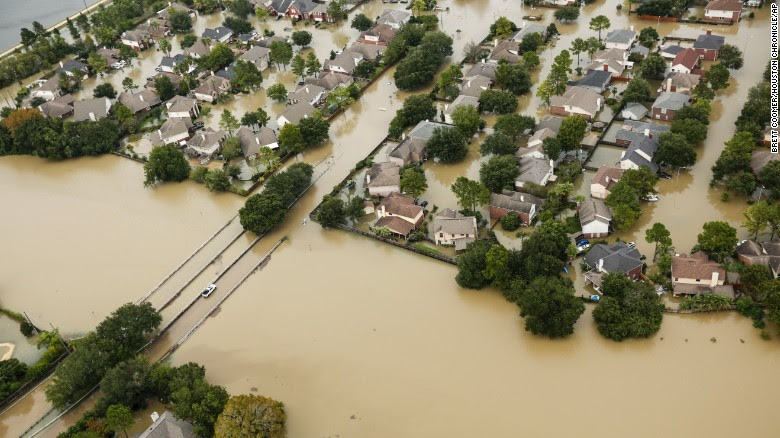 Floodwaters from the Addicks Reservoir inundate a Houston neighborhood on Wednesday, August 30, five days after Hurricane Harvey made landfall in Texas. The Category 4 storm came ashore late Friday, August 25, just north of Port Aransas, and has caused historic flooding. <em>Correction: Previous versions of this gallery incorrectly reported that Hurricane Harvey is the strongest storm to make landfall in the United States since Wilma in 2005. Harvey is actually the strongest storm to make landfall in the United States since Charley in 2004.</em>