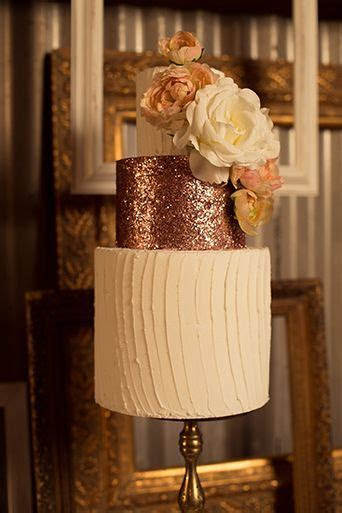 Rose gold glitter rustic glam wedding cake at Whispering