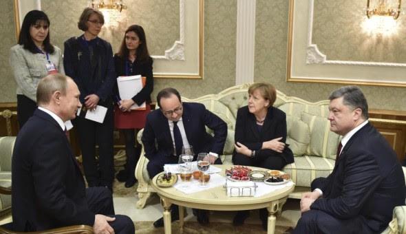 Vladimir Putin,  Angela Merkel, Francois Hollande, Petro Poroshenko