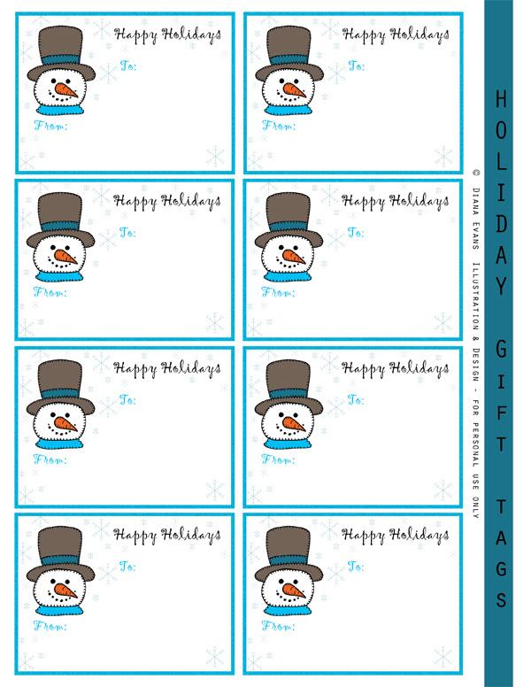 snowman gift labels-blog