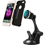 Insten Universal Dashboard Windshield Magnetic Car Mount Holder For Cell Phones Small Tablets w/Long Adjustable Arm - Black