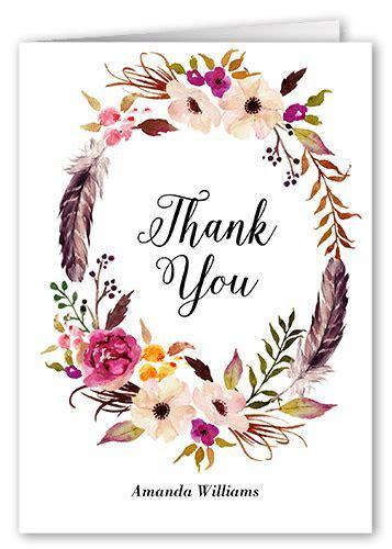 Flowery Circlet 3x5 Wedding Thank You Card   Shutterfly