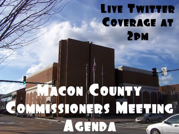 Macon County Commissioners meeting coverage announcement. Graphics and Photo by Bobby Coggins