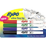 Expo 1871133 Ultra Fine Tip Low Odor Dry Erase Markers, Assorted Colors, 4-ct