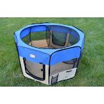 AeroMark International PP001B Portable Playpen Blue & Beige