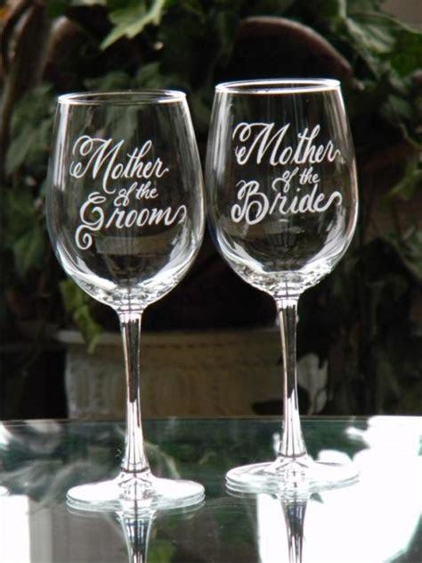 mother   bride  groom engraved wine glasses