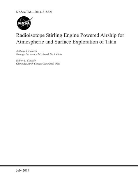(PDF) Radioisotope Stirling Engine Powered Airship for