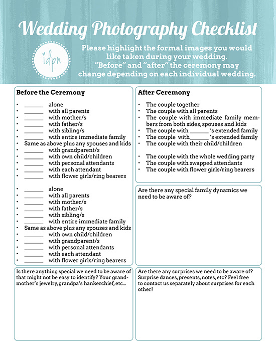 Personalized Wedding Photography Checklist