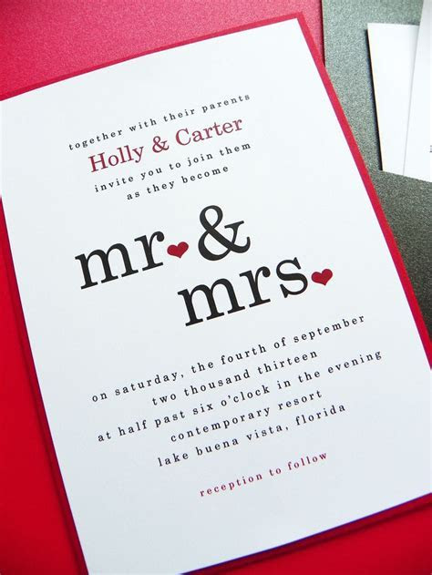 Wedding Invitation   Mr & Mrs Pocket Card Wedding