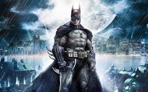 batman gotham city night moon rain desktop wallpaper hd