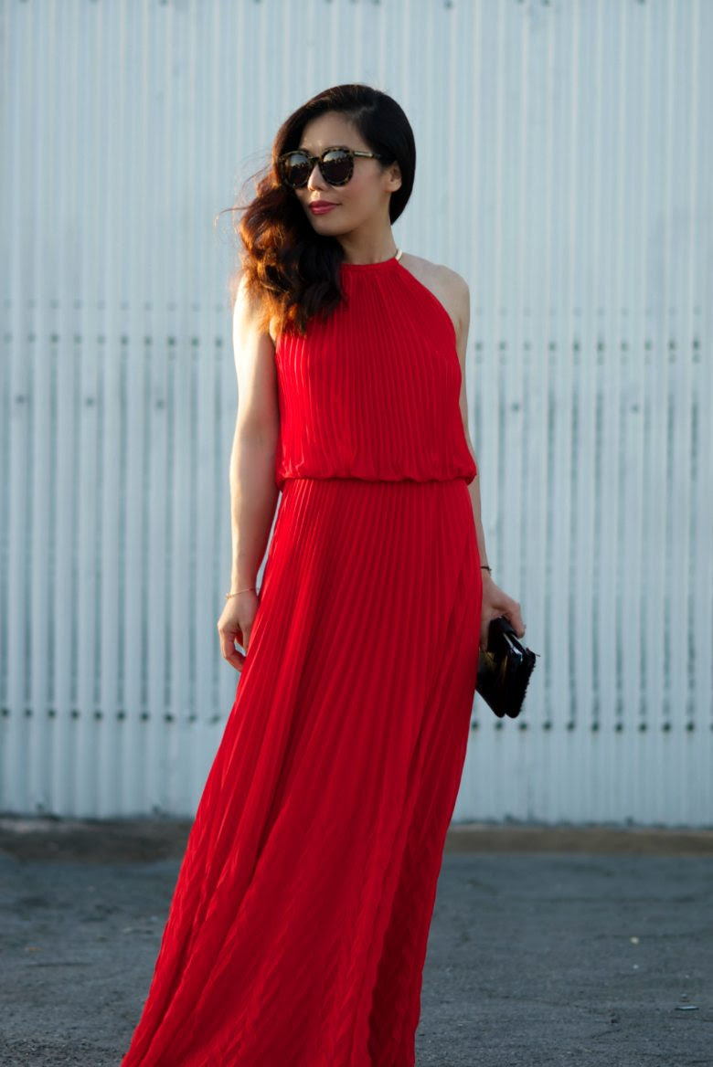 hot summer red maxi dress  hallie daily