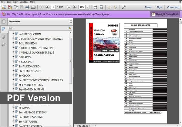 2000 Dodge Gr Caravan Sport Owners Guides