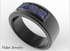 Mens Wedding Band Princess Cut Blue Sapphire Wedding Band   Vidar Jewelry   Unique Custom