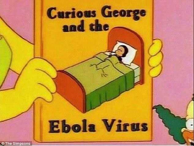 Copertina del libro mostra una scimmia sdraiata a letto. Il monket è stato a lungo sospettato di essere un portatore del virus che ha ormai fatto la sua strada verso l'America e sostenuto la sua prima vittima, Eric Thomas Duncan