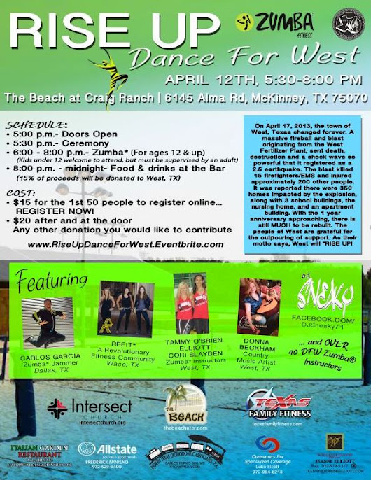 Public Invited to Zumba® Dance Fundraiser on April 12 in McKinney to Benefit the Community of West, Texas