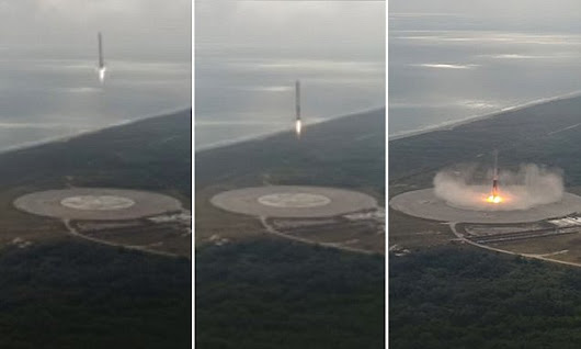 Incredible moment SpaceX rocket lands back on its launch pad