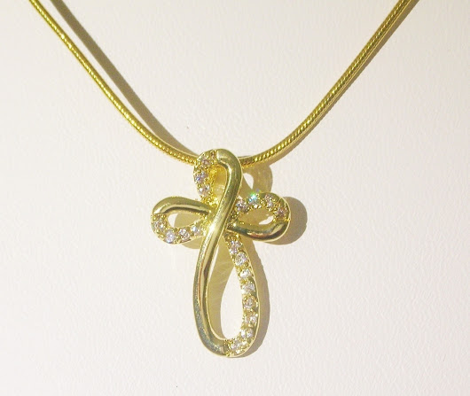 Embellished Curved Cross CZ Necklace