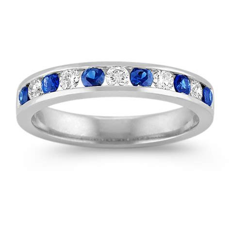 Sapphire and Diamond Platinum Wedding Band with Channel