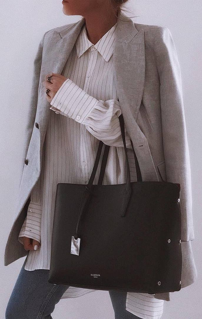 casual office style addcit / blazer +stripped shirt + bag + jeans