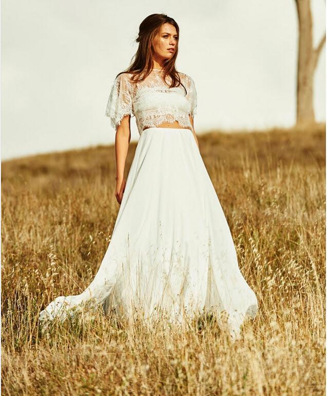 Boho Two Piece Jewel Neck Lace Top A-line Chiffon Wedding Dress