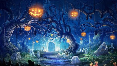 full hd wallpaper halloween mystic art jack  lantern
