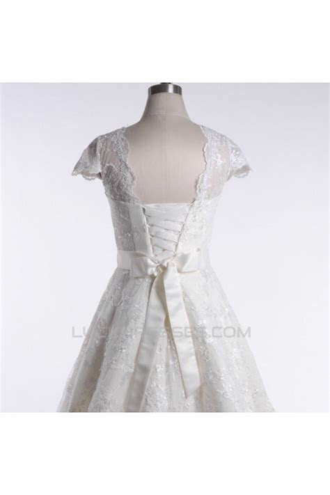 A line Short Cap Sleeves Lace Bridal Wedding Dresses WD010836