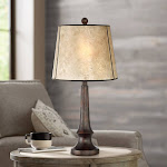 Naomi Aged Bronze Mica Shade Industrial Table Lamp - Style # 32Y47
