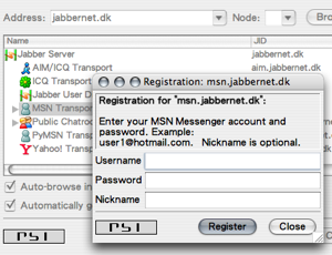 Psi: 設定 MSN 帳號