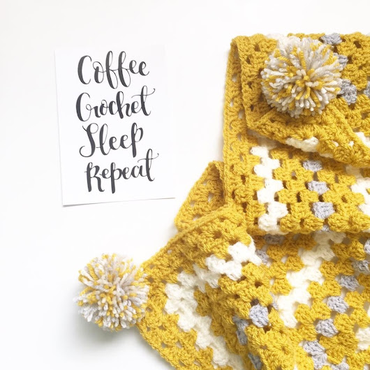 Granny square blanket crochet project by Forever Autumn