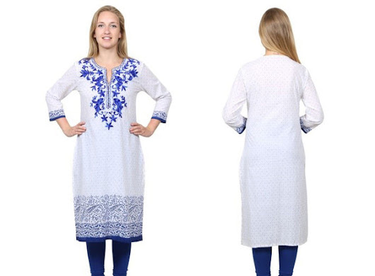 Latest Types of White Embroidered Designer Cotton Kurtis