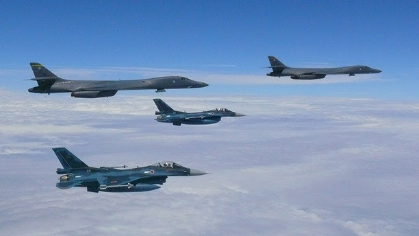 Two U.S. Air Force B-1B Lancers assigned to the 37th Expeditionary Bomb Squadron, deployed from Ellsworth Air Force Base, South Dakota, flew from Andersen Air Force Base, Guam, for a 10-hour mission, flying in the vicinity of Kyushu, Japan, the East China Sea, and the Korean peninsula, Aug. 7, 2017 (HST). During the mission, the B-1s were joined by Japan Air Self-Defense Force F-15s as well as Republic of Korea Air Force KF-16 fighter jets, performing two sequential bilateral missions. These flights with Japan and the Republic of Korea (ROK) demonstrate solidarity between Japan, ROK and the U.S. to defend against provocative and destabilizing actions in the Pacific theater. (Courtesy photo)