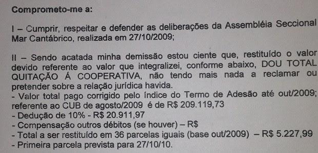 Instituto Lula divulgou termo de demissão da cooperativa, assinado por Marisa Letícia (Foto: Reprodução)
