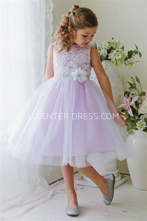 Floral Tea Length Tiered Tulle&Lace Flower Girl Dress