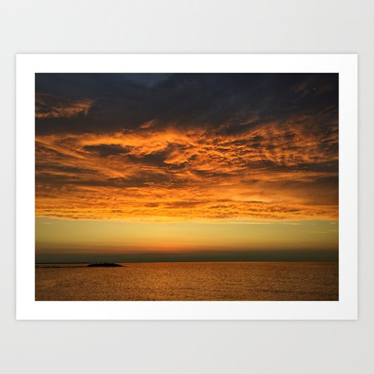Dramatic orange - clouds on fire Art Print by Metamorview | Society6